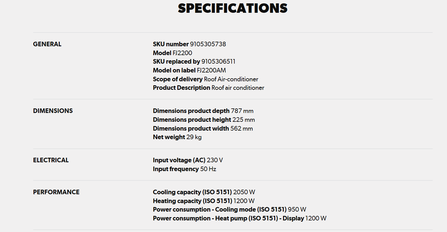 Dometic Freshjet 2200 specifications pt1
