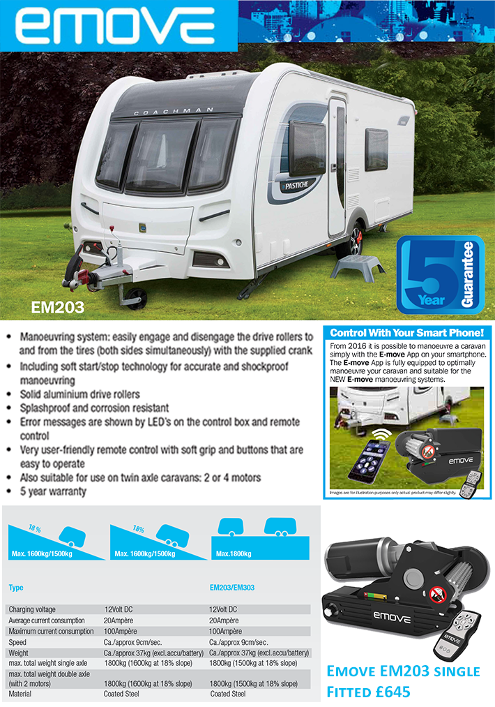 The Emove EM203 caravan manoeuvring system by Leisurewize is a perfect entry level caravan mover for the budget conscious caravanner