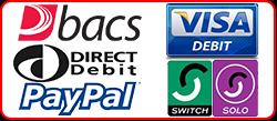 we accept payments from debit cards and credit cards, BACs, visa debit, pay pal, maestro, visa, solo, mastercard,